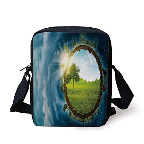 Earth,Circular Frame with Endless Green Landscape Infinity Clouds Space Decorative,Light Green Brown Petrol Blue Print Kids Crossbody Messenger Bag Purse