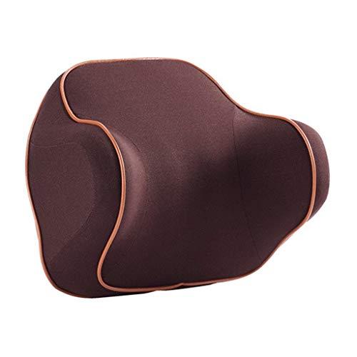 ShiBin Sitzbezüge Auto Kopfstütze Nackenkissen Kissen Sitz Auto Taille Auto Kissen Speicher Baumwolle Hals Innenraumausstattung Sitzbezügesets (Color : Brown)
