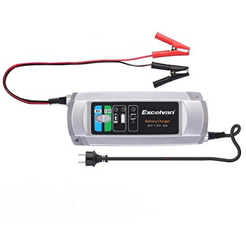 Excelvan Caricabatterie Intelligente a 3 Fasi / Batteria, 3A 6V / 12V, per Trickle Auto / Camper / Moto / Mower - Compatto Suv