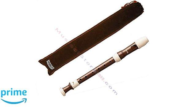 Ideal für Schüler Blockflöte Plastik Flöte Beige Braun Barock Griffweise Tasche