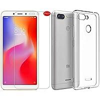 MYLBOO Xiaomi Redmi 6 Funda con Protector de Pantalla, [3 en 1] Funda Transparente TPU para teléfono móvil + [2 Pack] 9H Protector de Pantalla de Vidrio Templado para Xiaomi Redmi 6