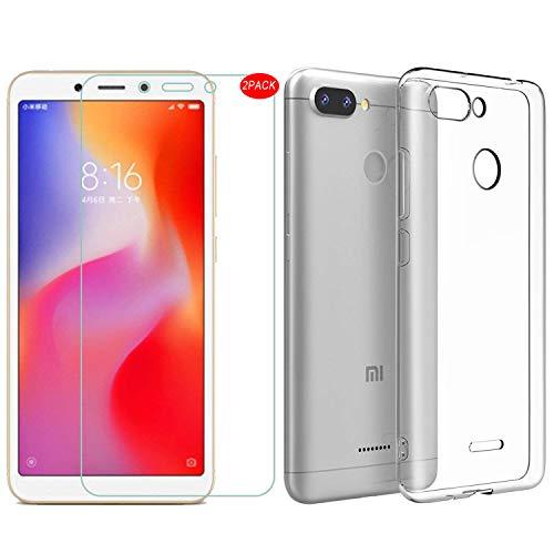 MYLBOO Xiaomi Redmi 6 Hülle mit Displayschutzfolie, [3 in 1] Transparent Weich TPU Handytasche + [2 Pack] 9H gehärtetes Glas Displayschutzfolie [HD Ultra] [Anti-Scratch] Für Xiaomi Redmi 6