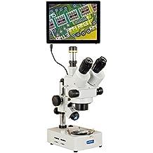 Omax 7x -45X 5MP Touchpad Protector de trinocular zoom microscopio estéreo de luz halógena de doble soporte de escritorio