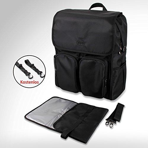 Preisvergleich Produktbild BAYTTER® Design multifunktionaler Rucksack Wickelrucksack Backpack wasserdicht Baby Wickeltasche Set aus Nylon schwarz, für Männer und Frauen, BPA-frei und kein Geruch, Windel-Pad geliefert