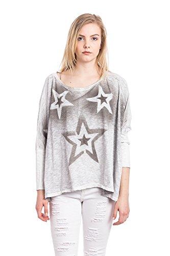Abbino Damen Shirt 5569-1 - Made in Italy - Spitze & Festlich - 4 Farben Grau