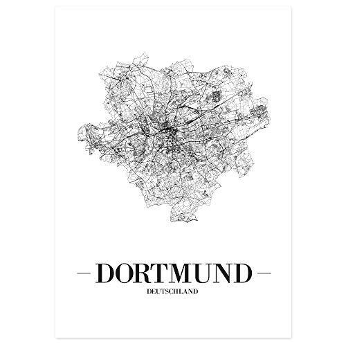 JUNIWORDS Stadtposter - Wähle Deine Stadt - Dortmund - 60 x 90 cm - Schrift A - Weiß