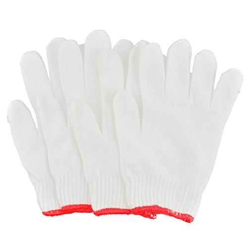 sourcingmap® 4stk Tischler Elektriker Baumwollmischungen Strecken Manschette Arbeiten Handschuhe Weiß (Manschette Garn)