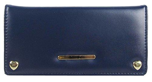 Barra Di Metallo Anteriore Kukubird & Cuore Forma Dettaglio Abbellimento Ladies Pelle Portafoglio Frizione Dark Blue