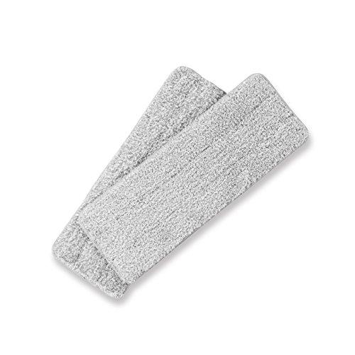 Clean Maxx Ersatz-Wischtuch 2er-Set grau Easy Wischsystem Komfort-Mopp Wischmop & Eimer mit 2 Kammer System, Mikrofaser, CLEANmaxx B079X2NKSY, ca. 33 x 12 cm