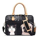 GWB61 Handtasche für Laptops mit 38,1 cm (15 Zoll), wasserfest, PU-Kunststoff, Motiv: Cartoon-Katze und Hund