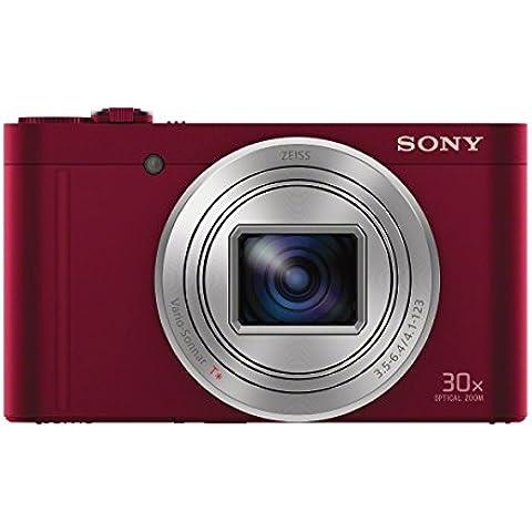 Sony DSC-WX500 Fotocamera Digitale Compatta Cyber-shot, Sensore CMOS Exmor R da 18,2 Megapixel, Obiettivo Zeiss Vario-Sonnar T* con Zoom Ottico 30x, Rosso