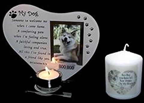 My Dog Glas Teelichthalter Foto Rahmen mit Gedicht kann personalisiert