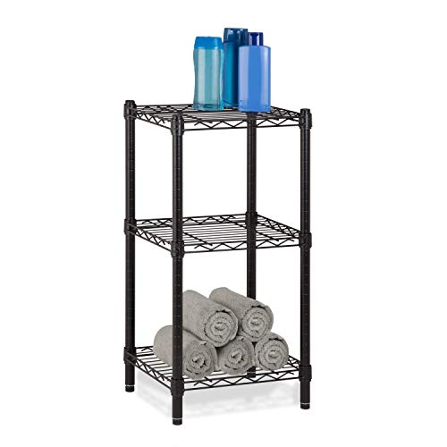 Black : Honey-Can-Do SHF-02218 3-Tier Steel Wire Shelving Tower, Black, 14 by 15 by 30-Inch