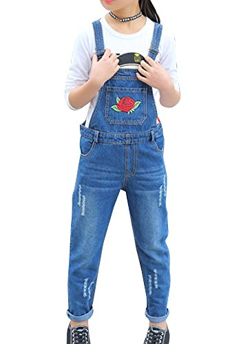 GladiolusA Salopette En Jeans Filles Combinaison Salopette Denim Pantalons Salopette En Jeans