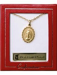 Oro collar, collar de Milagrosa Medalla de confirmación, confirmación regalos para una niña y Lourdes tarjeta de oración)