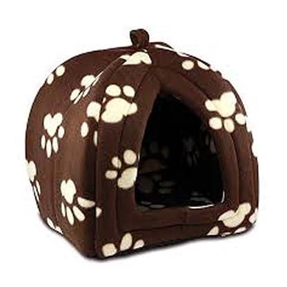 PET PAW PRINT DESIGN IGLOO PET DOG CAT PYRAMID BED HUT 1