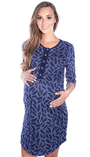 Mija - 2 en 1 Maternité/Allaitement 100% Coton Robe de Nuit 4016 (EU 38, Bleu Marin)