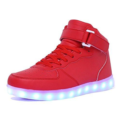 Tasten Erwachsene Schuhe (Aidonger Unisex Erwachsene High-Top LED Schuhe Sneaker Sportschuhe USB Lade Outdoor Leichtathletik Beiläufige Paare Schuhe (EU 46=300mm, Rot))