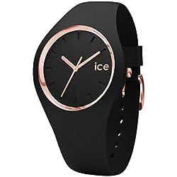 Ice-Watch - Ice Glam Black Rose-Gold - Montre Noire pour Femme avec Bracelet en Silicone - 000980 (Medium)