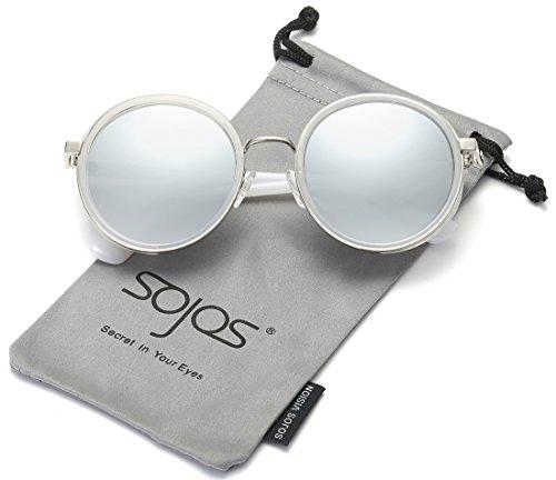 Fett Rahmen Spiegel (SojoS Retro Gothic Steampunk Runde Blingbling Verspiegelt Sonnenbrille Damen SJ2022 mit Silber Rahmen / Silber Linse)