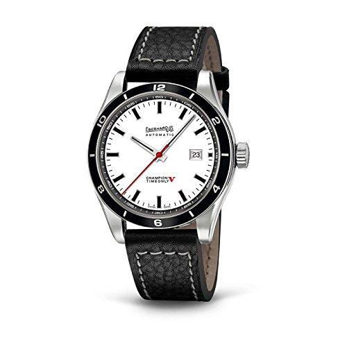 Clock Eberhard Champion V 41031CP Breaker Steel quandrante White Leather Strap