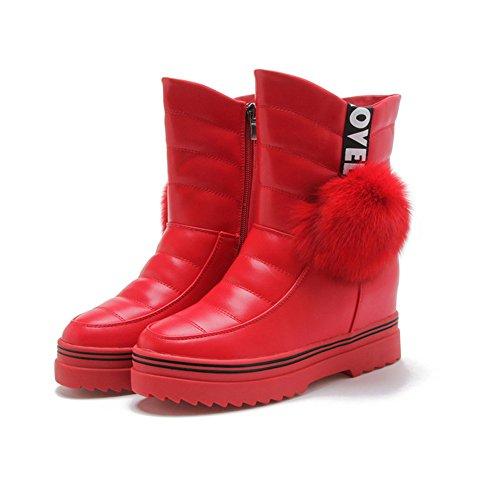 Damen Stiefeln Schöne Dicke Sohle Plüsch Reißverschluss Winter Schneestiefeln Rot