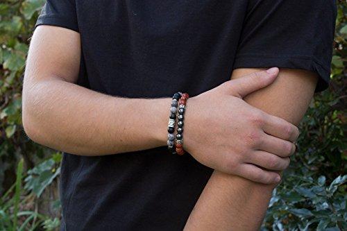 2in1 Herrenarmband Frauenarmband Weichnachtengeschenk - Schwartz Rot Handgemacht Schmuck (Rocker Traditionelle Rote)