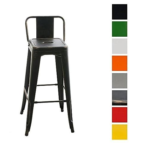 CLP Tabouret de bar empilable en métal MASON, hauteur assise: 77 cm, classique & robuste, Fauteuil de bar noir-or