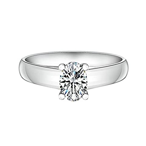 AMDXD Jewelry Sterling Silver Women Promise Customizable Rings Oval Cubic Zirconia Size S