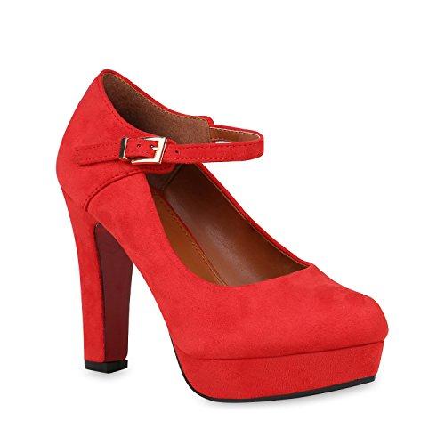 Damen Schuhe Plateau Pumps Mary Janes Wildleder-Optik Stiletto High Heels 153073 Rot 40 Flandell