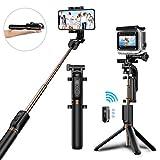 Selfie Stick Stativ, Bovon Verstellbare Selfie Stange mit Bluetooth-Fernauslöser, 360° Rotation Ausfahrbar, Selfiestick für iPhone XS MAX/XS/XR/X, Galaxy S9/S8 Plus, Gopro Action Kamera (Schwarz)
