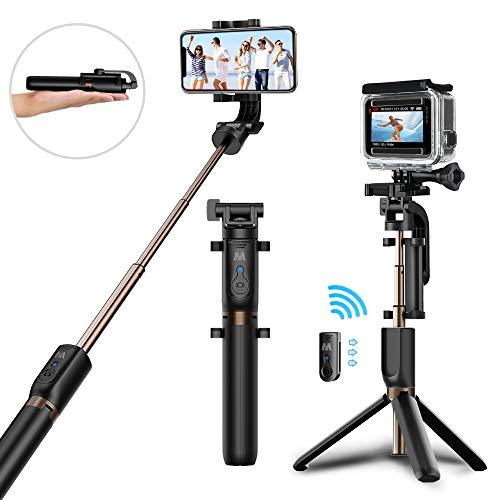 Bastone selfie, matone selfie stick treppiedi con bluetooth telecomando [ rotazione di 360°] estensibile selfie stick per iphone x 8 7 6 xr xs max, galaxy s8 s9 plus, gopro, fotocamera