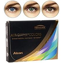 Air Optix Aqua Color 10096022 Lentes de Contacto, R 8.6, D 14.2, Dioptría 0, Color Verde - 2 Unidades