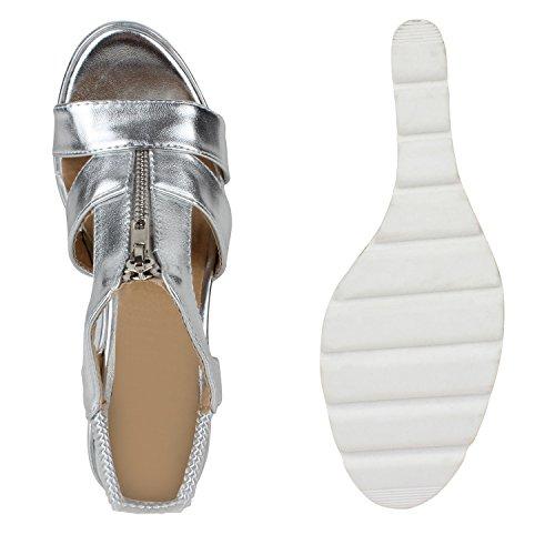 Damen Keilsandaletten Zipper Profilsohle Metallic Sandaletten Holzoptikabsatz Plateau Silber