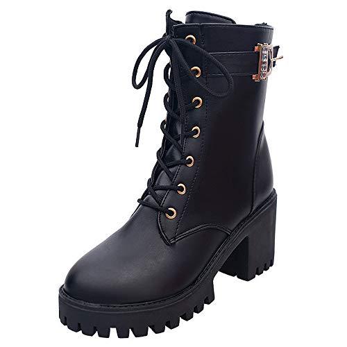 Botas Militares Botas Plataforma cuña tacón Ancho para Mujer Otoño Invierno Moda 2018 PAOLIAN Botines Biker con Cordones Cuero de la PU Zapatos de Señora Talla Grande Casual Calzado de Dama