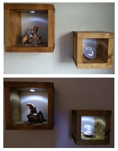 Cube Lot de 2 étagères en pin fait à la main en bois de pin rustique avec lampes LED Blanc