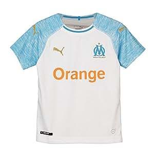Puma Olympique de Marseille Home Shirt Replica Maillot Mixte Enfant, Blanc (White/Bleu Azur), 128