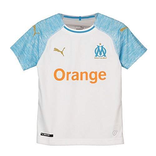 Puma Olympique de Marseille Home Shirt Replica Maillot Mixte Enfant, Blanc (White/Bleu Azur), 140