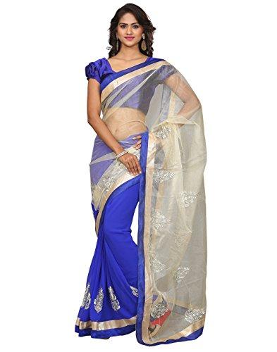 Saree Sagar Women\'s Net Saree With Blouse Piece (TM-559_Blue)