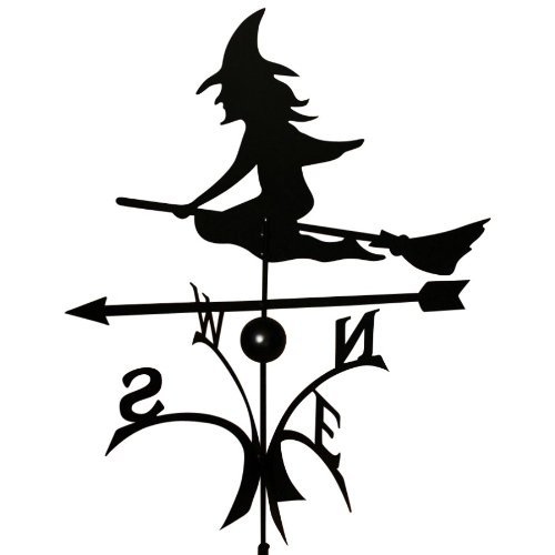Wetterfahne 57x68,5 cm Motiv Hexe schwarz Stahl Windspiel Kugelgelagert