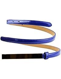NYfashion101 einfarbiger schmaler Gürtel mit goldton Verzierung und Reißzweckeverschluss