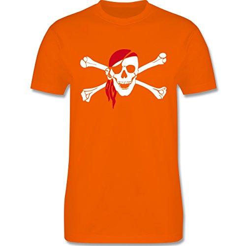 Piraten & Totenkopf - Totenkopf Pirat Kopftuch - Herren Premium T-Shirt Orange