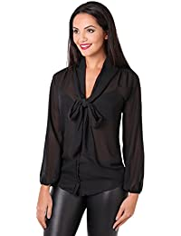 9aa3dd294f40 KRISP® Women Chiffon Long Sleeve Blouse Buttoned Shirt Tie Front Casual Tops  Black