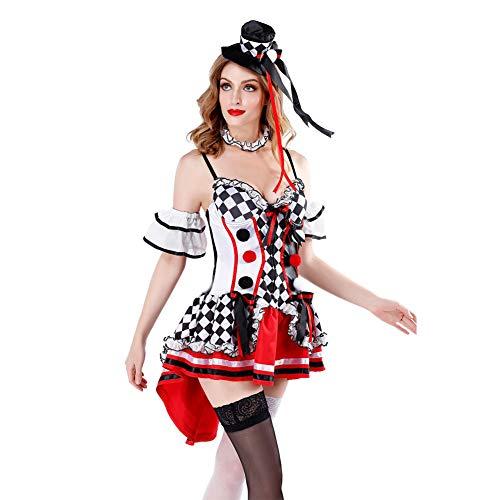 Kostüm Queen Hearts Girl Of - MEMIND Halloween-Kleider für Erwachsene Red Heart Queen Anzug Alice Fantasy Wunderland Poker Girl Clown Smoking Rock Theme Party-Kleidung,L