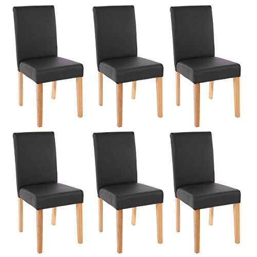 Bein-esszimmer-serie (Mendler 6X Esszimmerstuhl Stuhl Lehnstuhl Littau ~ Kunstleder, schwarz matt, helle Beine)