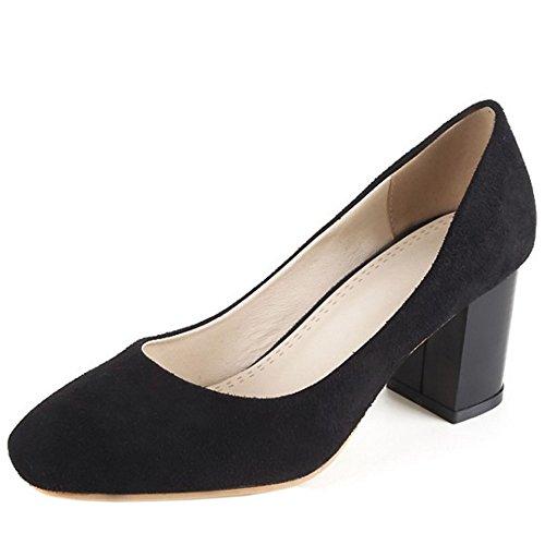 COOLCEPT Femmes Classique Bout Ferme Talon hauts Escarpins Slip On Bureau Robe Chaussures Noir