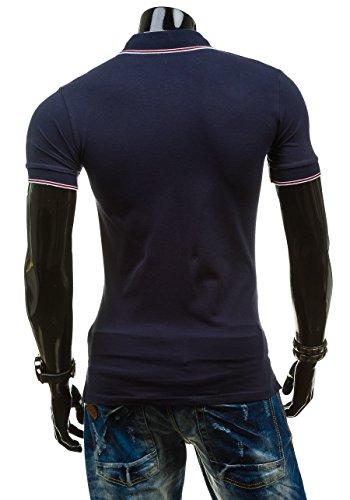 BOLF Poloshirt T-Shirt Kurzarm Polohemd Shirt Herren Figurbetont JACK DAVIS 158 Dunkelblau