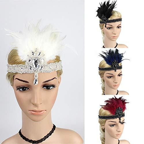 Mitlfuny Karnevalsparty Fancy Festival Zubehör,1920er Jahre Kopfschmuck Feder Flapper Stirnband Great Gatsby Headdress Vintage