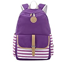 S-ZONE French Breton Nautical Striped Backpack Rucksack Marine Sailor Navy Stripy School Bags for Teenager Girls