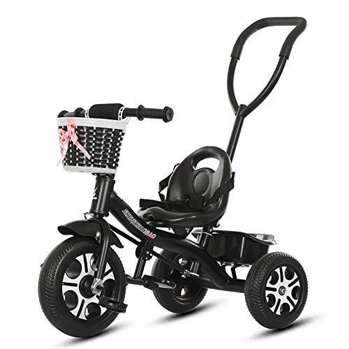 Dreiräder- Kinder Trike 3 Räder, Kinder Schiebegriff, Indoor & Outdoor mit Lagerplatz (Farbe : Rosa)
